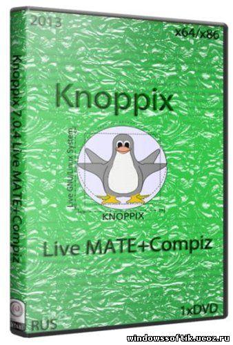 Knoppix 7.0.4 Live MATE+Compiz (x64/x86/1xDVD/2013)